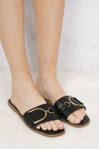 Arabella Gold Finish D Link Open Toe Sliders in Black