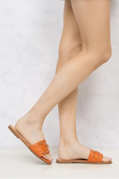 Arabella Gold Finish D link Open Toe Sliders in Orange