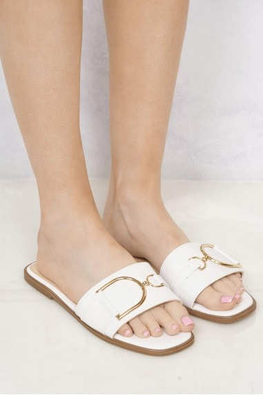 Arabella Gold Finish D link Open Toe Sliders in White