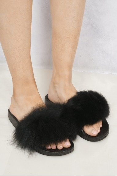 Effie Fur Band Slider in Black