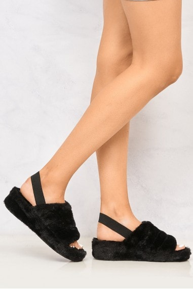BooBoo Fluffy Band Sandal in Black
