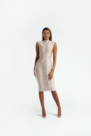 The 'Lola' Sleeveless Bandage Midi Dress in Nude