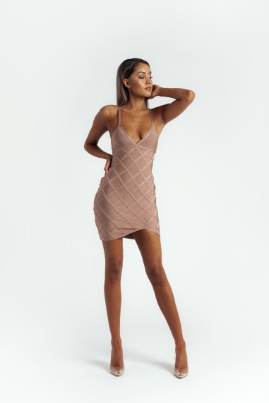 The 'Delyla' Strappy Bandage Mini Dress in Nude