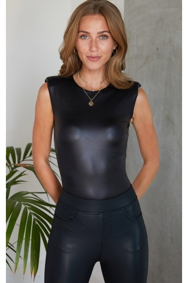 Leather Look PU Body Suit in Black
