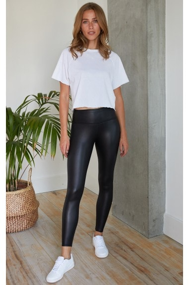 Ruched Detail 'Push Up' Leather Look Leggings