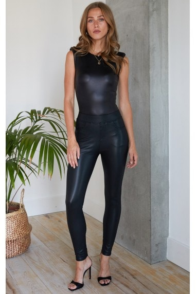 Leather Look PU Trousers with Pocket Detail