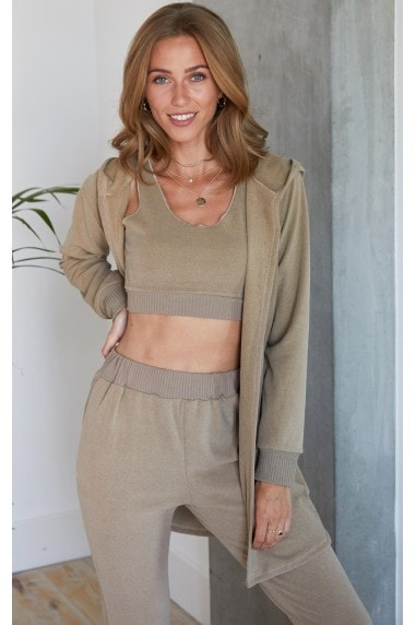 Beige Soft Touch Three Piece Crop Top, Jogging Bottom and Cardigan Set