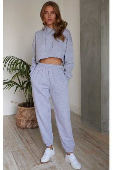 Relaxed Tracksuit Joggers and Crop Hoodie in Grey