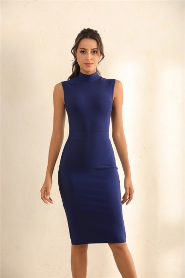 Turtle Neck Bodycon Bandage Midi Dress In Blue