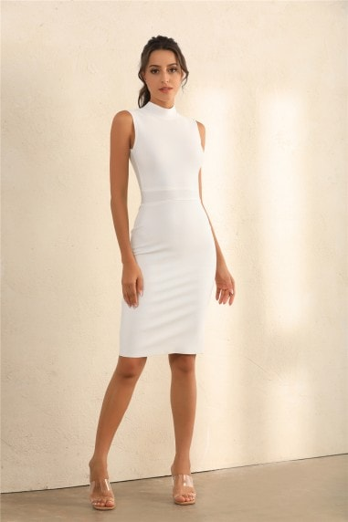 Turtle Neck Bodycon Bandage Midi Dress In White