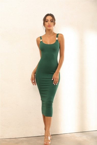 Criss Gold Detail Straps Ribbed Bodycon Midi Dress In Green