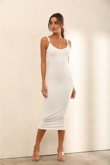 Criss Gold Detail Straps Ribbed Bodycon Midi Dress In White