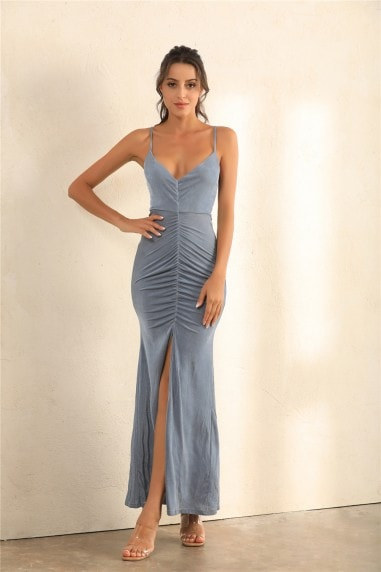 Ruched Split Cami Maxi Dress In Grey