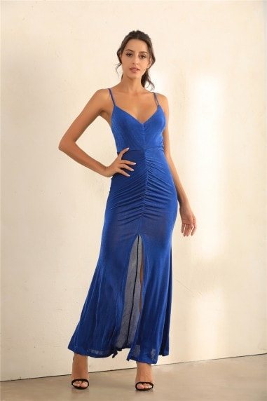 Ruched Split Cami Maxi Dress In Blue