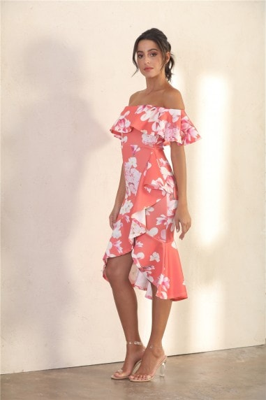 Summer Frill Bardot Midi Dress In Orange Floral