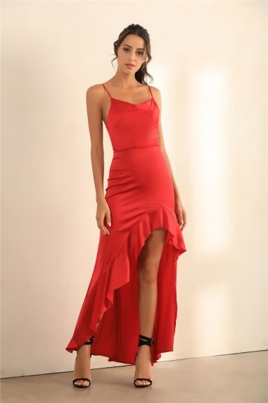 Cami Asymmetric Ruffle Hem Dress In Red Satin