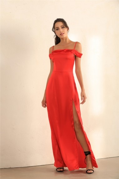 Split Thigh Cami Maxi Dress In Red Satin
