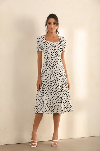 Dalmatian Spot Print Puff Shoulder Split Midi Dress In White