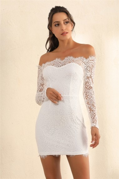 Lace Overlay Off Shoulder Bodycon Dress In White