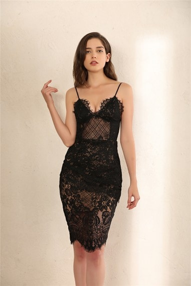 Leighton Tiered Lace Midi Dress In Black