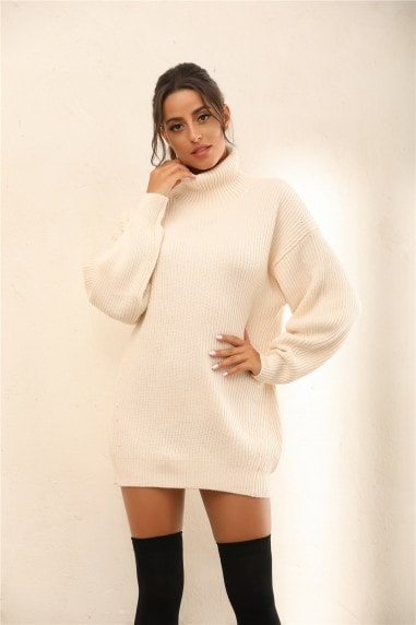 Roll Neck Knitted Jumper | Mini Dress In Nude