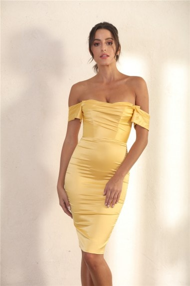 Off Shoulder Bodycon Dress In Yellow Satin