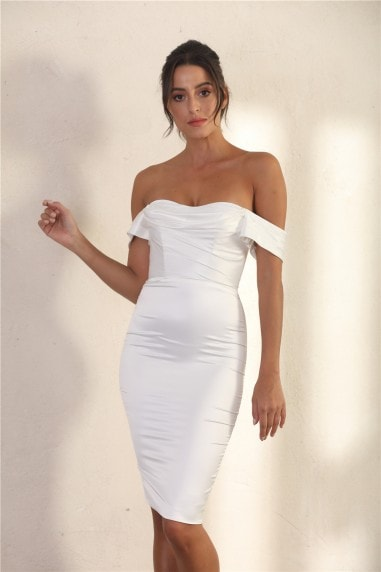 Off Shoulder Bodycon Dress In White Satin