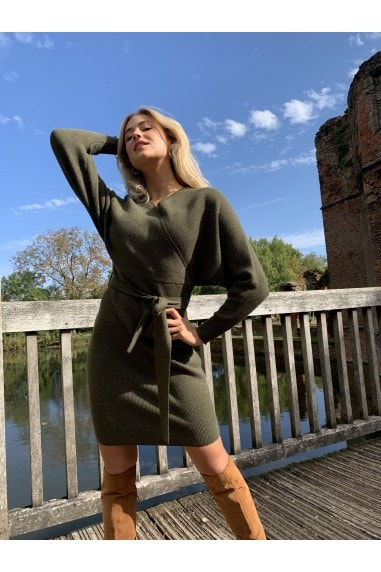 Rens Khaki Mock Wrap Knit Dress