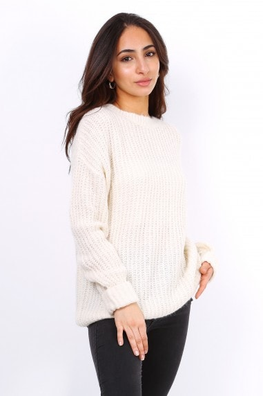 Beige Oversized Slouchy Jumper With Metallic Threads