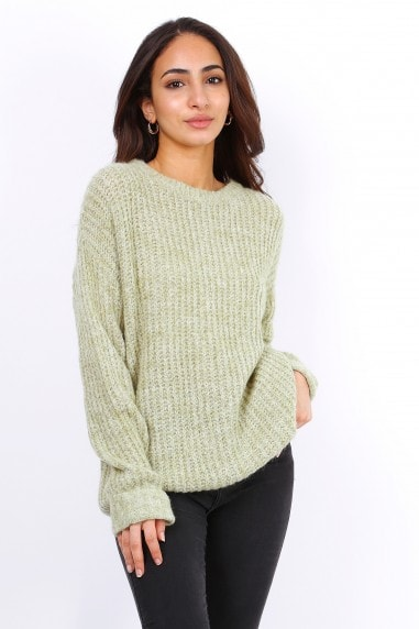 Green Oversized Slouchy Jumper With Metallic Threads