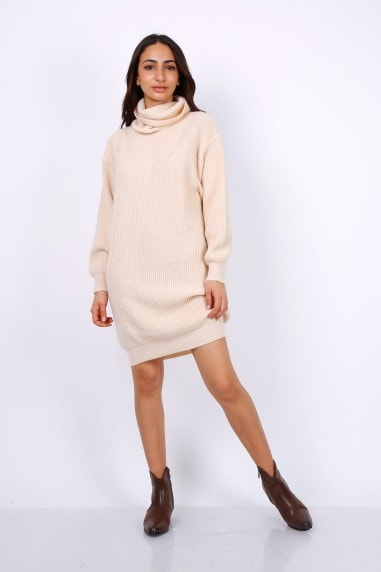 Oversized Chunky Knit Jumper Dress With Roll Neck In Beige