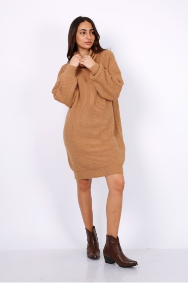 Oversized Chunky Knit Jumper Dress With Roll Neck In Camel