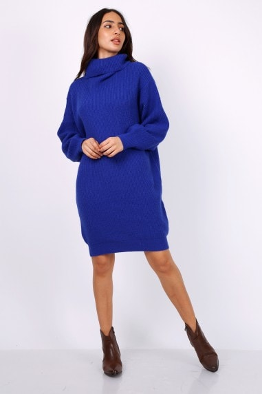 Oversized Chunky Knit Jumper Dress With Roll Neck In Blue