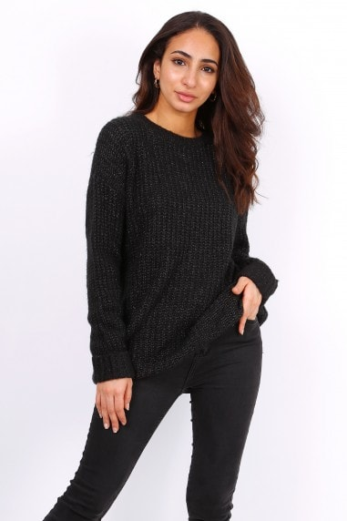 Black Oversized Slouchy Jumper With Metallic Threads