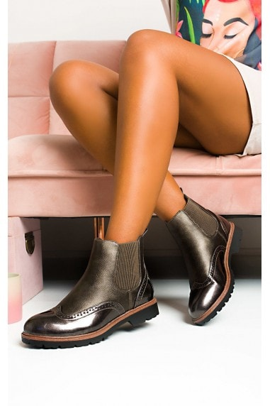 Kene Faux Leather Brogue Chelsea Boots