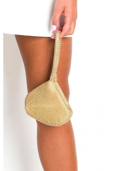 Sara Diamante Chainmail Pouch Bag
