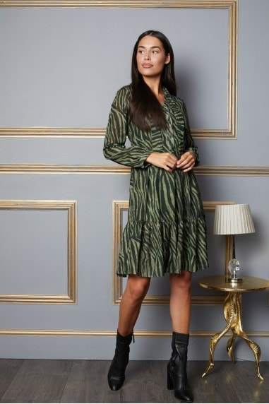 Nelly Neck Tie Dress with Hem Detail