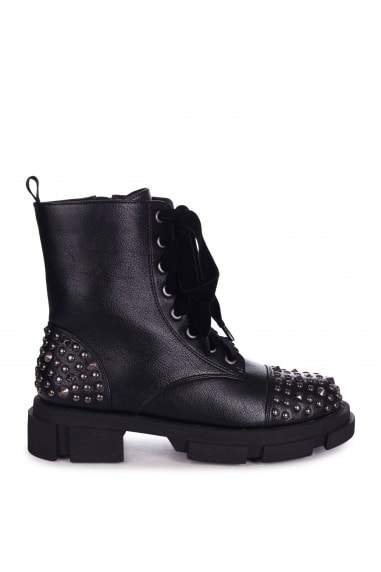RUBY - Black Nappa Silver Studded Lace Up Military Style Boot With Heavy Sole