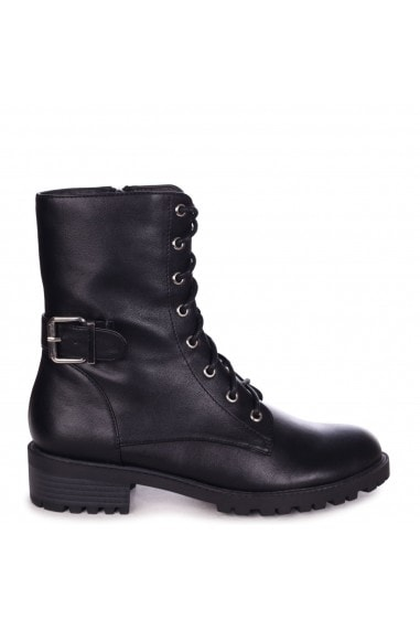 INKA - Black Nappa Lace Up Military Style Boot With Buckle Detail