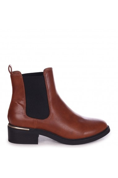 MYTH - Tan Nappa Classic Chelsea Boot With Gold Heel Trim