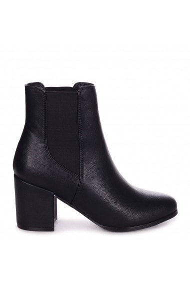 DUA - Black Nappa Pull On Chelsea Boot With Block Heel