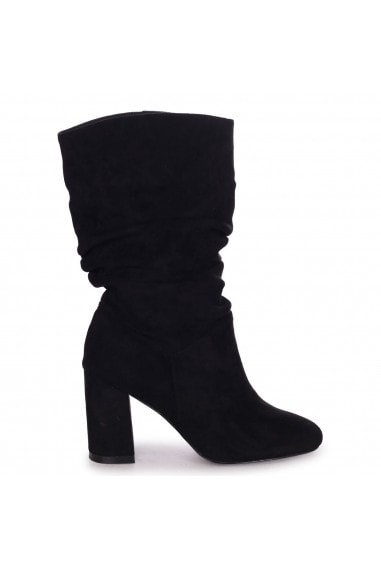 PINE - Black Suede Ruched Block Heeled Boot