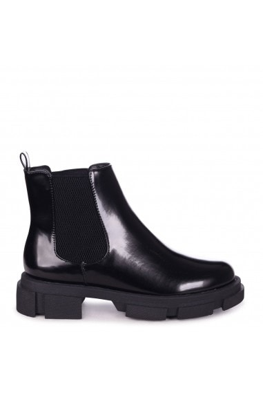 PACE - Black High Shine Chelsea Boot With Elastic Gusset Oversized Sole