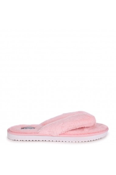 DREAM - Pink Fluffy Toe Post Slippers