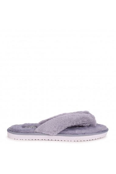 DREAM - Grey Fluffy Toe Post Slippers