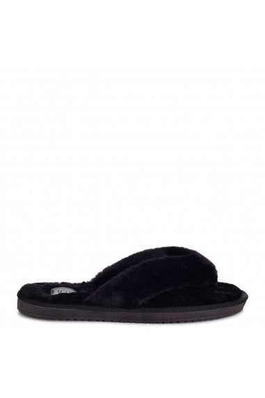 DREAM - Black Fluffy Toe Post Slippers