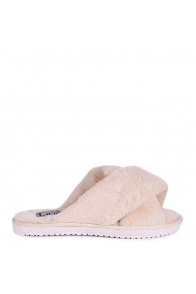 CLOUD - Beige Fluffy Crossover Slippers