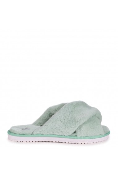 CLOUD - Green Fluffy Crossover Slippers
