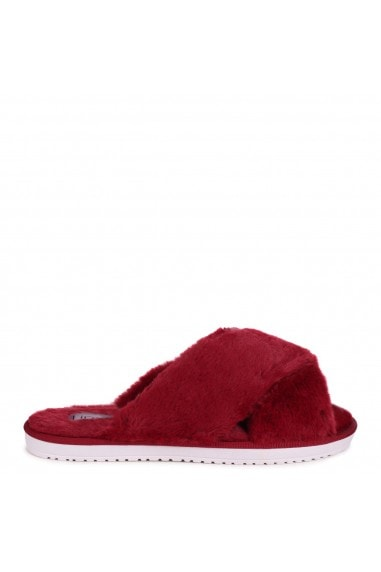 CLOUD - Burgundy Fluffy Crossover Slippers