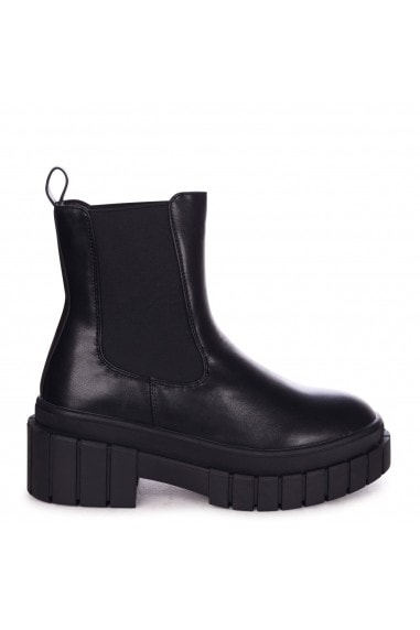 RADIANT - Black Nappa Chelsea Boot With Elastic Gusset Chunky Sole